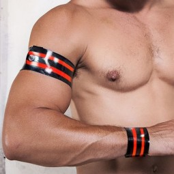 Rubber armband - black/red