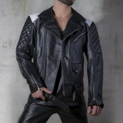 Leather Biker Jacket -...