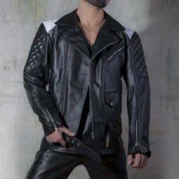 Leather Biker Jacket -...
