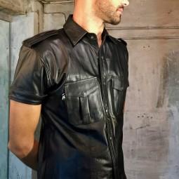 Leather Uniform Shirt - Black