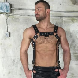 Leather Bracer Harness - Black