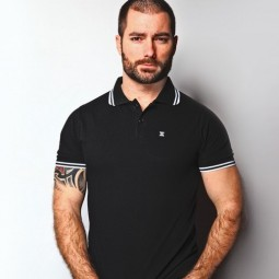 X-Polo Black/ White Stripes
