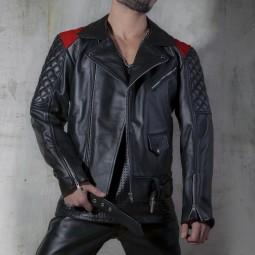 Leather biker Jacket - red...