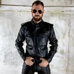 Leather Uniform Shirt Long...