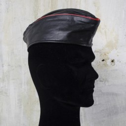 Leather Soldier Cap - Red