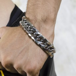 Chunky Steel Bracelet -...