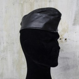 Leather Soldier Cap - Black
