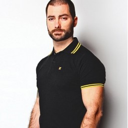 X-Polo Black/ Yellow Stripes