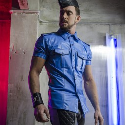 Leather Police Shirt -...