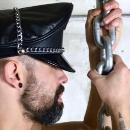 Leather Man Cap - Chain trim