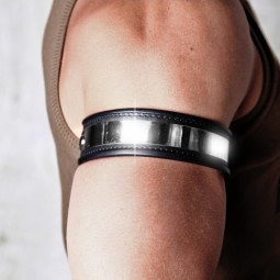 Leather Armband - Steel
