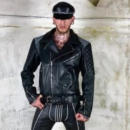 Leather biker Jacket - grey...