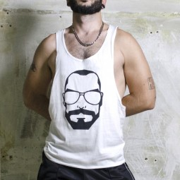 Muscle Vest Beardy Boy - White