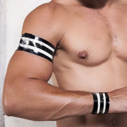 Rubber armband - black/white